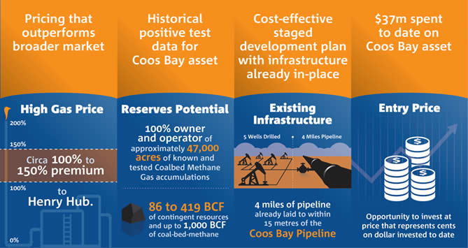 High gas price; reserves potential; existing infrastructure; entry price