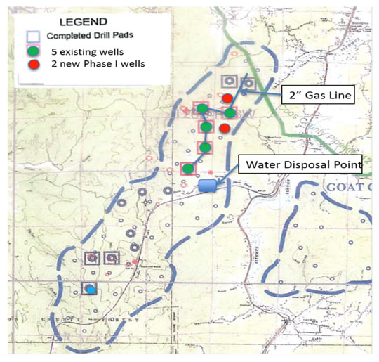 5 existing wells; 2 new phase 1 wells